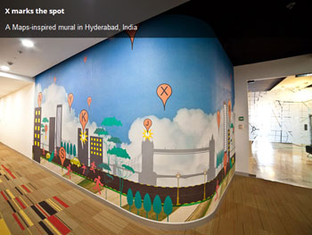 a google maps inspire mural in the hyderabad office photograph courtesy googlecom best google office