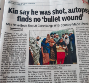 Times of India report on dead farmer's autopsy report